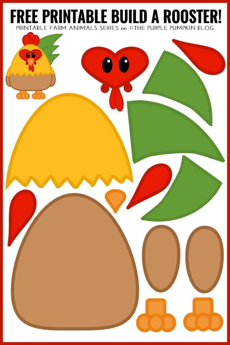 Free Printable Build A Rooster! Fun Farm Animals Series!