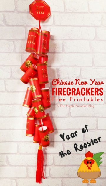 Celebrate the Chinese New Year with this free printable Chinese Firecrackers set! They're fun to make and look awesome hung on the wall!