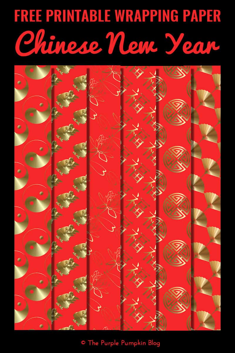 A set of 6 free Chinese New Year wrapping paper. Various sizes! Simply download, print and use!