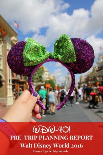 WDW40 Pre-Trip Planning Report 2016