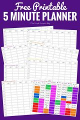5 Minute Planner Printable - a free printable to organise the hours in your day into 5 minute task segments
