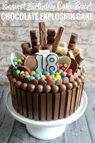 How to make a Chocolate Explosion Cake. It looks amazing (and yummy) and is so easy to make! This is a chocolate lover, chocoholics dream cake! Perfect for birthdays and other celebrations!