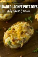 Loaded Jacket Potatoes with Cheese & Bacon. These can be made ahead of time, and are a tasty meal prep recipe.