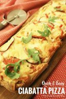 Quick + Easy Ciabatta Pizza. A store bought ciabatta loaf, topped with your favorite pizza toppings makes this dish super quick and easy! Great when you don't have much time!