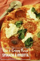Thin Crust Pizza: Spinach & Ricotta. Use store-bought dought, and prep the toppings in advance for a quick mid-week meal