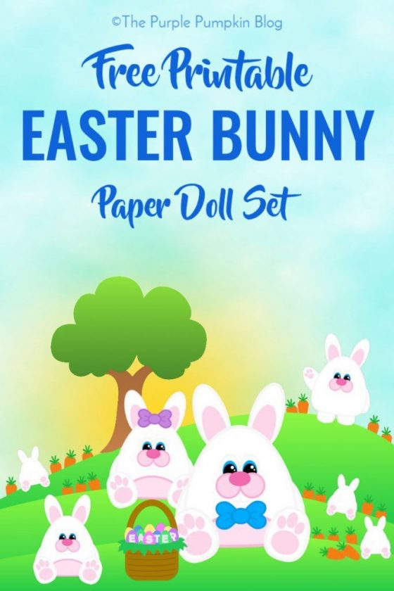 Free Printable Easter Bunny Paper Doll Set - this is such a cute free printable for Easter! How adorable are the little Easter bunnies?! This blog has some awesome printables, pin this and make sure you check them out!