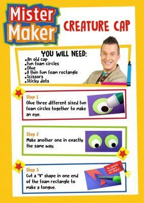 Mister Maker Creature Cap Activity Sheet