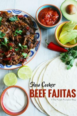 Slow Cooker Beef Fajitas. These are a great slow cooker dump recipe. Prep in advance, and dump in the crock pot when fajita night comes around! Can also be frozen and thawed for a later time. Served with soft tortillas and your favorite toppings for a no fuss, no stress dinner!