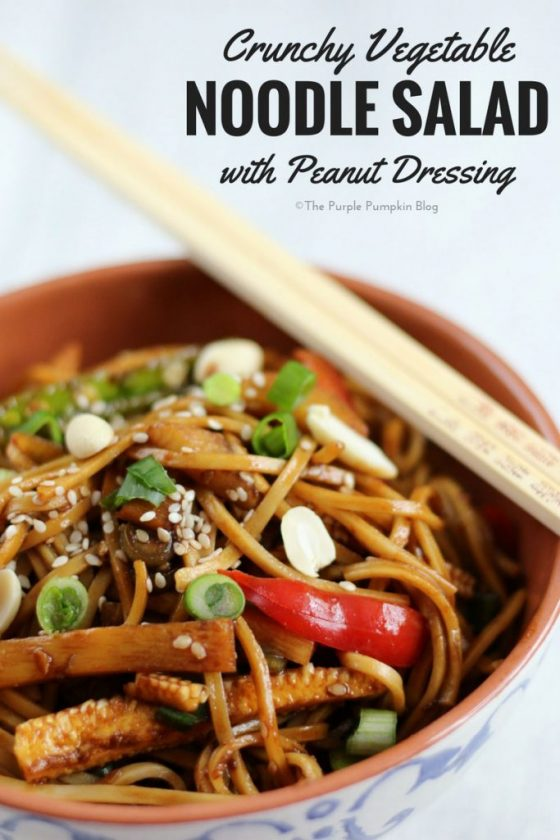 This Crunchy Vegetable Noodle Salad with Peanut Dressing is full of flavour, and quick to assemble. It's a great salad to meal prep for lunches for the week too.
