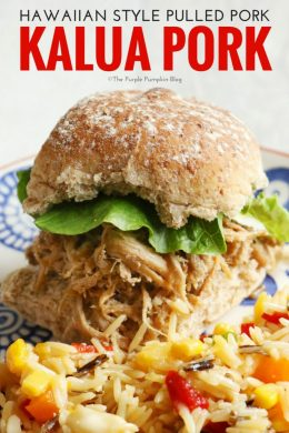 The key to Kalua Pork is the long slow cooking process. Popular at Hawaiian Luaus, it is traditionally made by smoking a whole pig in a sand pit, but can be made at home using pork shoulder and cooked in a slow cooker/crock pot. So easy, and so delicious!