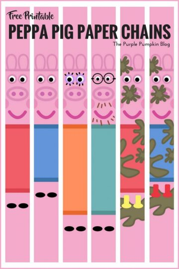 Peppa Pig Paper Chains. These are a fun and easy to make party decoration for a Peppa Pig themed birthday party. Just print as many as you need, cut and glue in loops to make long chains.