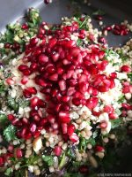 Giant couscous with roasted aubergine, flat leaf parsley and pomegranate