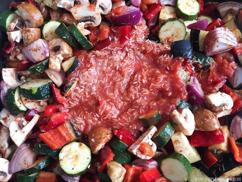 Roasted Vegetable, Chick Pea & Rice Salad Recipe Prep