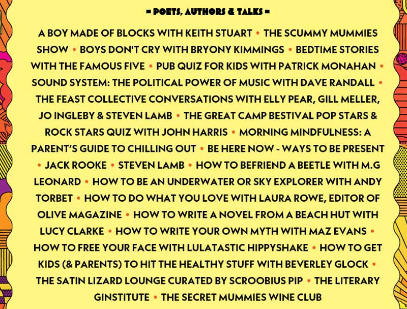 Poets, Authors & Talks at Camp Bestival 2017