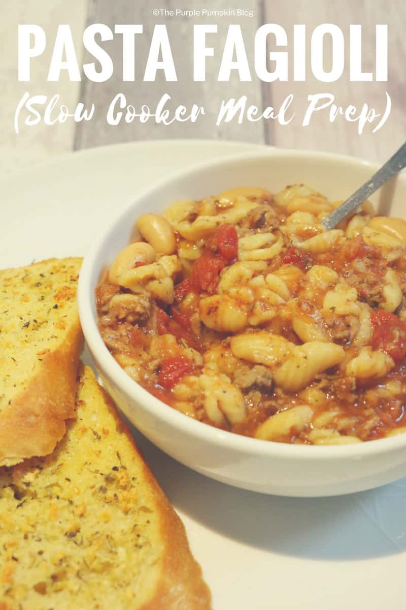 Pasta Fagioli is a delicious Italian soup that is great for meal prepping. It can be cooked in the slow cooker making dinnertime a breeze. It's a really hearty soup made with pasta and beans, and a bowl of pasta fagioli with some garlic bread is a delicious family meal.