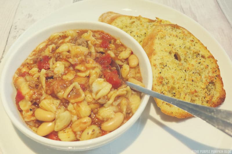 Pasta Fagioli with homemade garlic bread