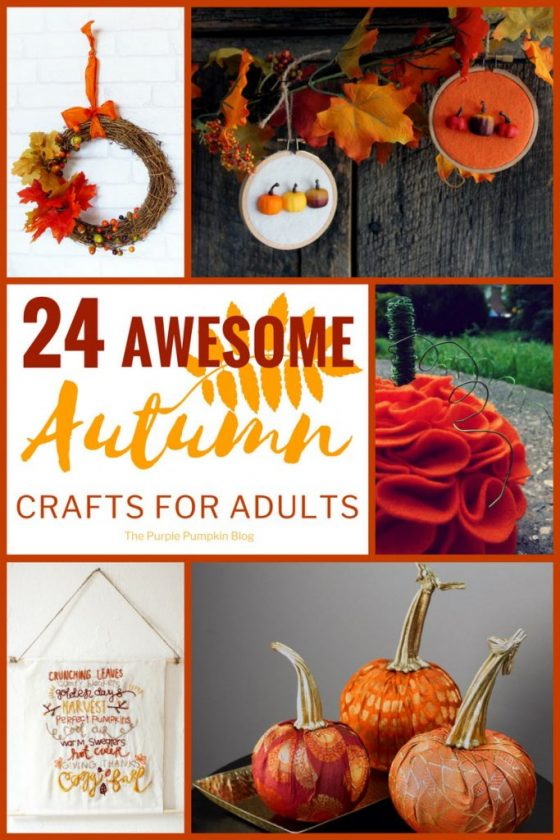 24 Awesome Autumn Crafts for Adults. A wonderful collection of fall crafts including wreaths, garlands, embroidery, ceramic painting and soap making!