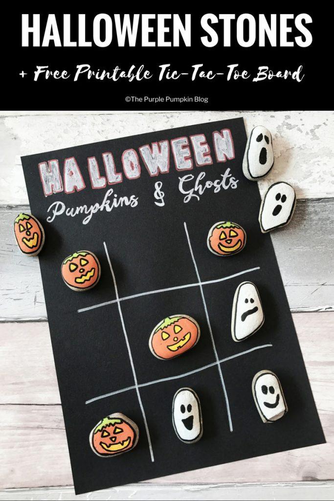 Halloween Stones TicTacToe  Free Printable