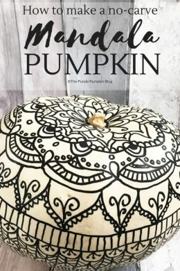 How to make a no-carve Mandala Pumpkin. No carving tools required for this pretty pumpkin! Using markers you can draw a mandala on a pumpkin for a gorgeous alternative to a regular Jack o'Lantern! There is a also a free printable to practise on before drawing on your pumpkin! #Mandala #Pumpkins #Halloween