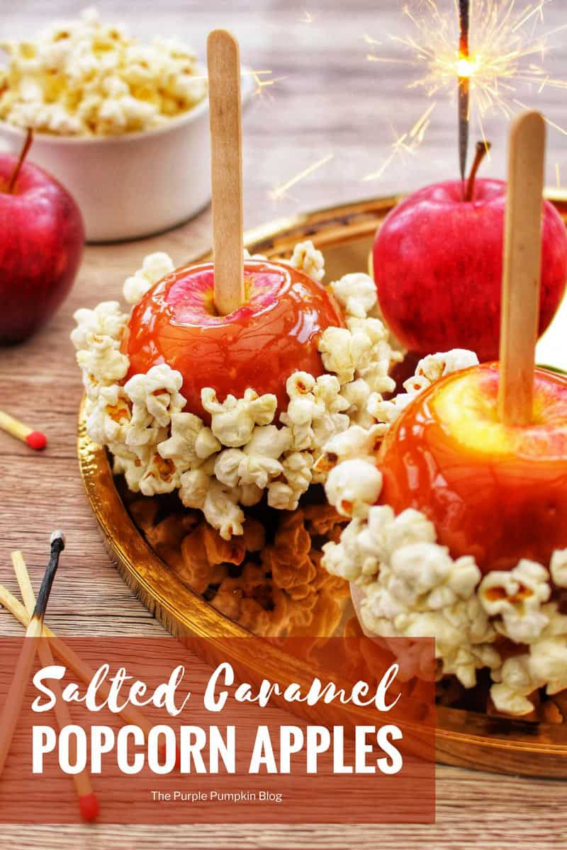 """These Salted Caramel Popcorn Apples are a great treat to make for Halloween, Guy Fawkes Night, or for any time you want to celebrate! There is both a """"cheats"""" recipe and a """"make from scratch"""" recipe included in this post. Once you know how simple it can be, you'll be making all sorts of caramel apples!"""