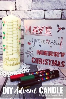 Make this DIY Advent Candle using POSCA pens (which write on virtually anything) and a cheap pillar candle. You can be as simple or as decorative as you desire!