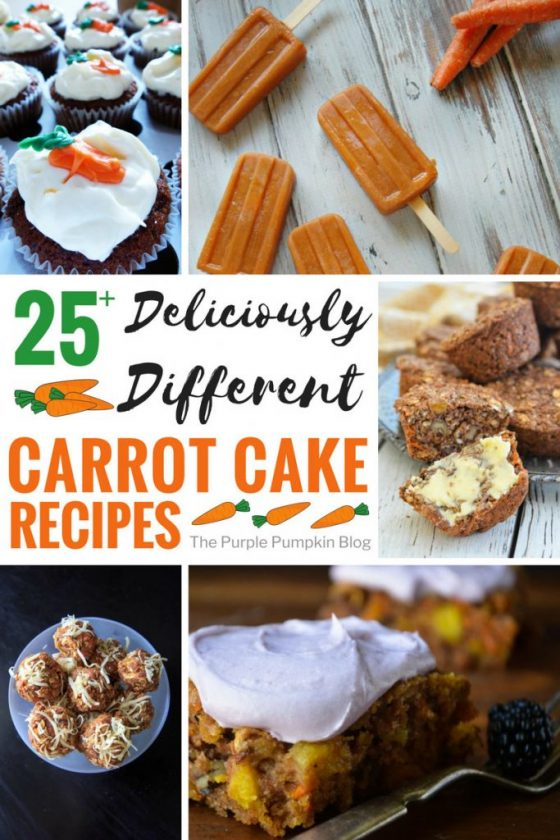 25 Deliciously Different Carrot Cake Recipes! Including cupcakes, muffins, energy bites, and even popsicles! There are also carrot cake recipes that are gluten-free, vegan, dairy-free, allergy-friendly, wholegrain and paleo - so there is a carrot cake recipe for everyone in this roundup!