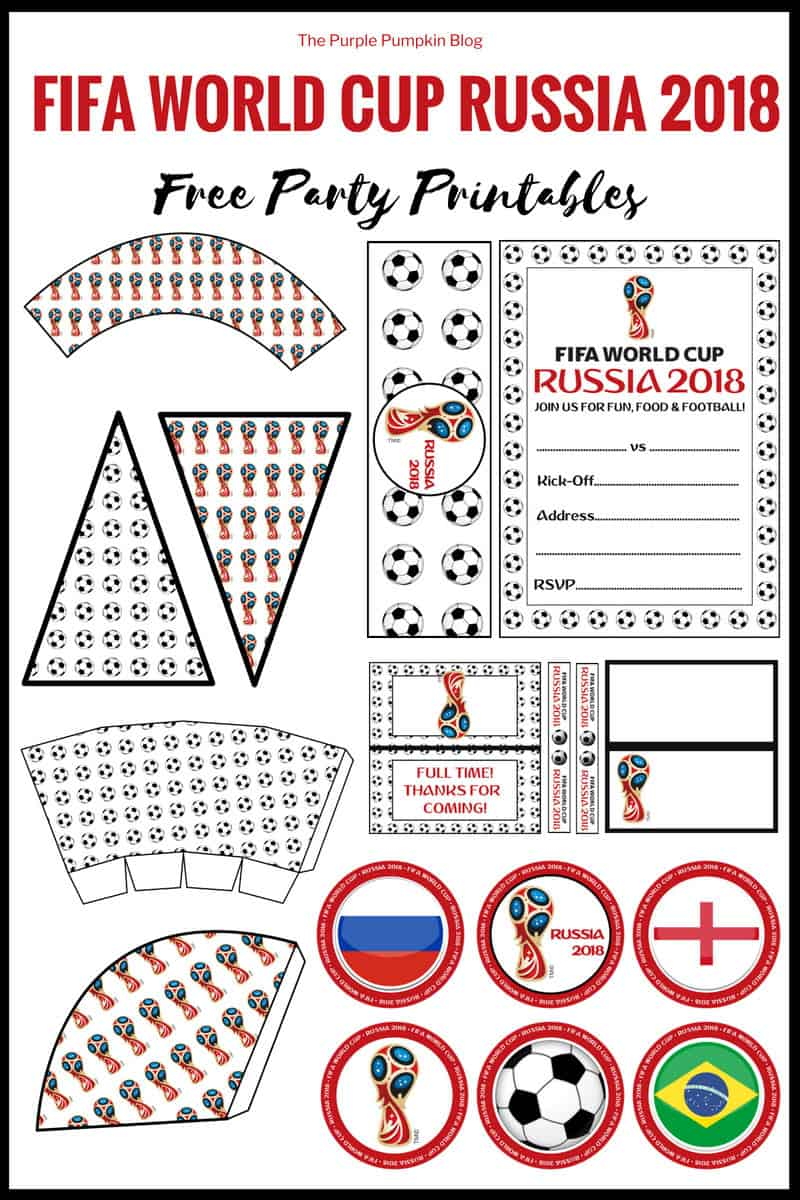 Football/Soccer Fifa World Cup Free Printables! You can print these free party printables for a game night/match watching get together or party. Included in this set of Football World Cup Party Printables are: invitations, cupcake toppers, cupcake wrappers, food labels, bunting, and more!