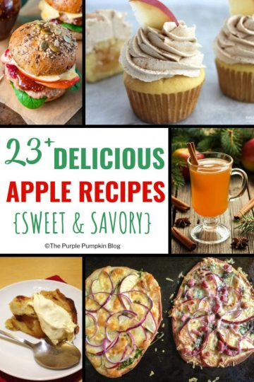 23+ Delicious Apple Recipes {Sweet & Savory} - Thanks to the wide variety of apples available, they make a great ingredient in both both sweet and savory dishes. These apple recipes include burgers, flatbreads, salads, beverages, pies, cupcakes and other sweet treats!