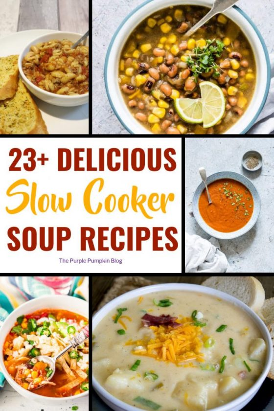 23+ Slow Cooker Soup Recipes. These slow cooker/crock pot soup recipes are perfect for autumn and winter. Throw all the ingredients into the pot and forget about it! Cook overnight to take for lunches to work or school using a flask. Or heat up at your work's kitchen. Soups make a hearty meal in themselves with some crusty bread, so make a perfect lunch to see you through till dinner time!