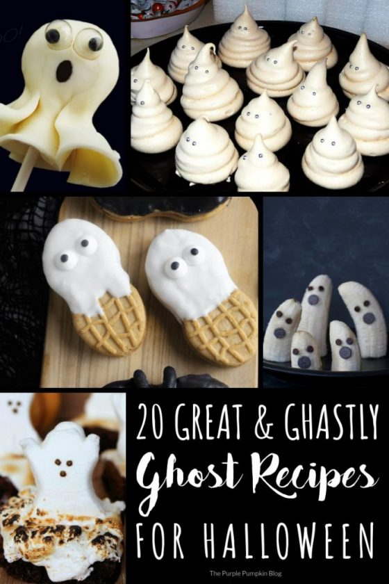 20 Great & Ghastly Ghost Recipes For Halloween! Included in this round up are lots of tasty ghost themed recipes, both sweet and savoury. Any of these ideas will make a hauntingly good addition to your Halloween celebrations!