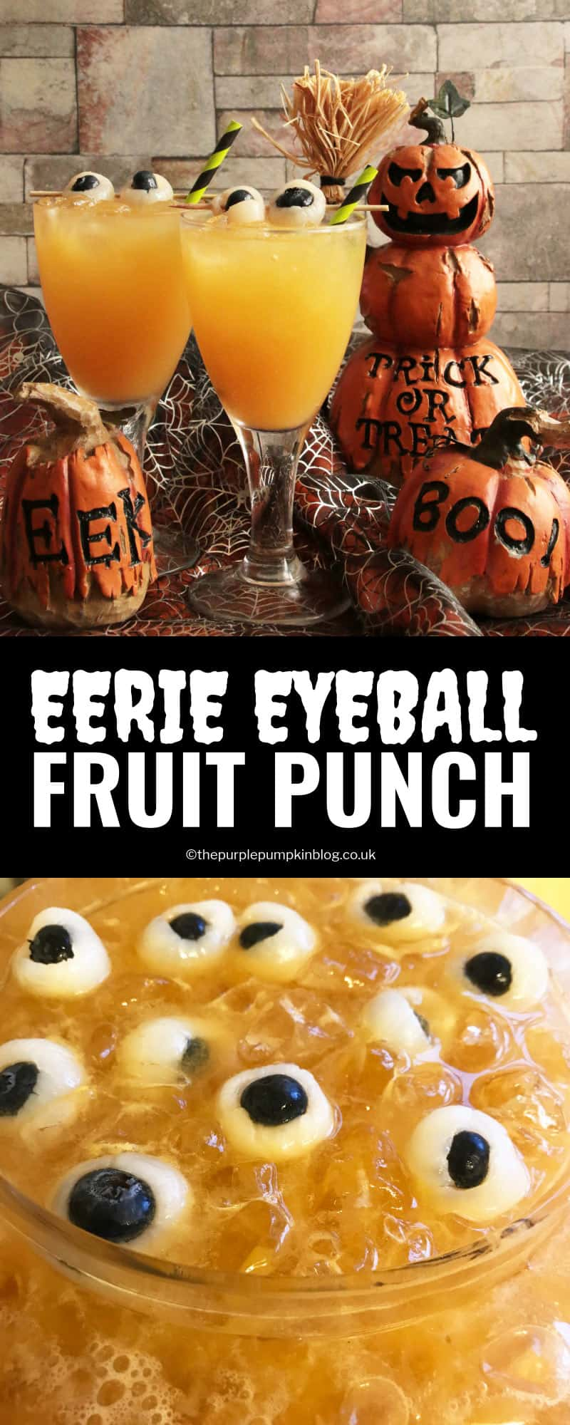 """This Eerie Eyeball Fruit Punch is a great drink to serve at a Halloween Party. It can be kept non-alcoholic for non-drinkers and kids, or laced with booze for the drinkers. The floating""""eyeballs"""" give it that eerie edge!"""