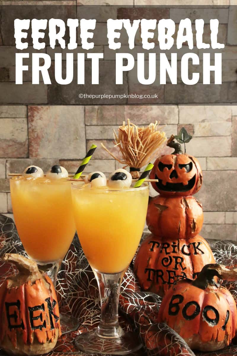 "This Eerie Eyeball Fruit Punch is a great drink to serve at a Halloween Party. It can be kept non-alcoholic for non-drinkers and kids, or laced with booze for the drinkers. The floating""eyeballs"" give it that eerie edge!"