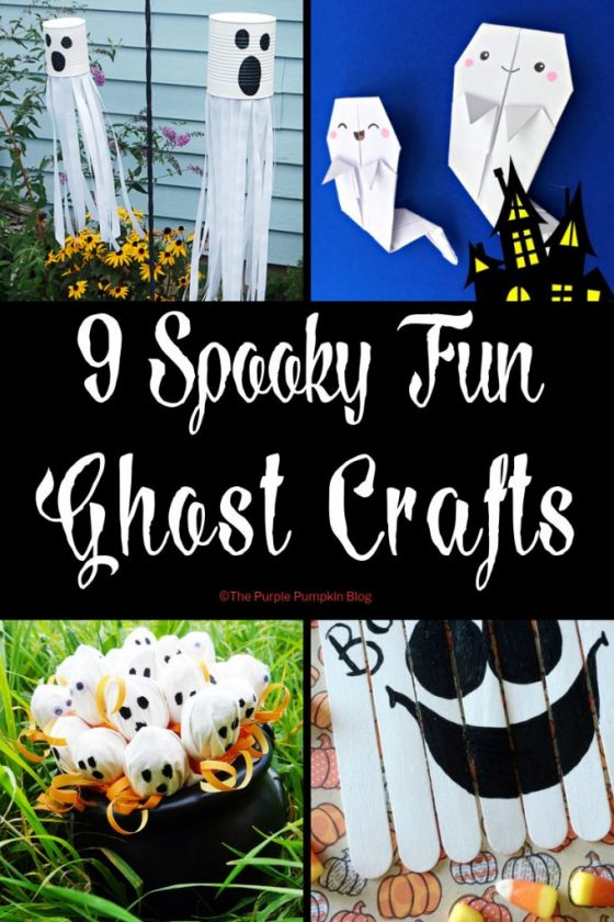 9 Spooky Fun Ghost Crafts! Included in this round up of spooky ghost crafts are paper crafts, recycling crafts, and super quick crafts - most of which are easy for kids to do either on their own or with supervision. Any of these crafts will make a hauntingly good addition to your Halloween celebrations!