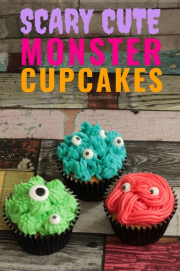 Scary-Cute Monster Cupcakes! These monstrous cupcakes are so easy to make, and are a great sweet treat for a Halloween party food table, or for a monster themed birthday party!