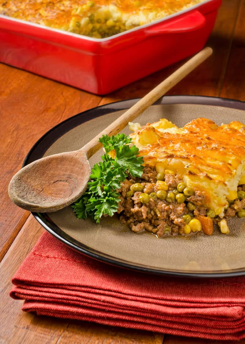 Cottage Pie with peas carrots and corn