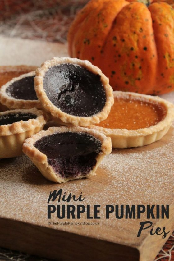 Give pumpkin pie a colorful twist to make them into purple pumpkin pies! Recipe from The Purple Pumpkin Blog!
