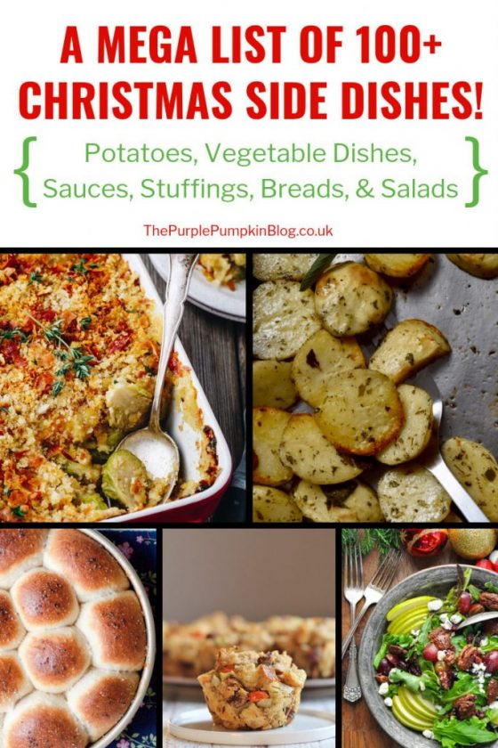 A mega list of 100+ Christmas Side Dishes, which include recipes for a variety of sides including potatoes, vegetables, sauces, breads, and salads. So if you are stuck in a rut with the same side dishes every Christmas, why not take a look through this list of recipes and switch things up a bit! #ChristmasSideDishes #Sides #ChristmasRecipes