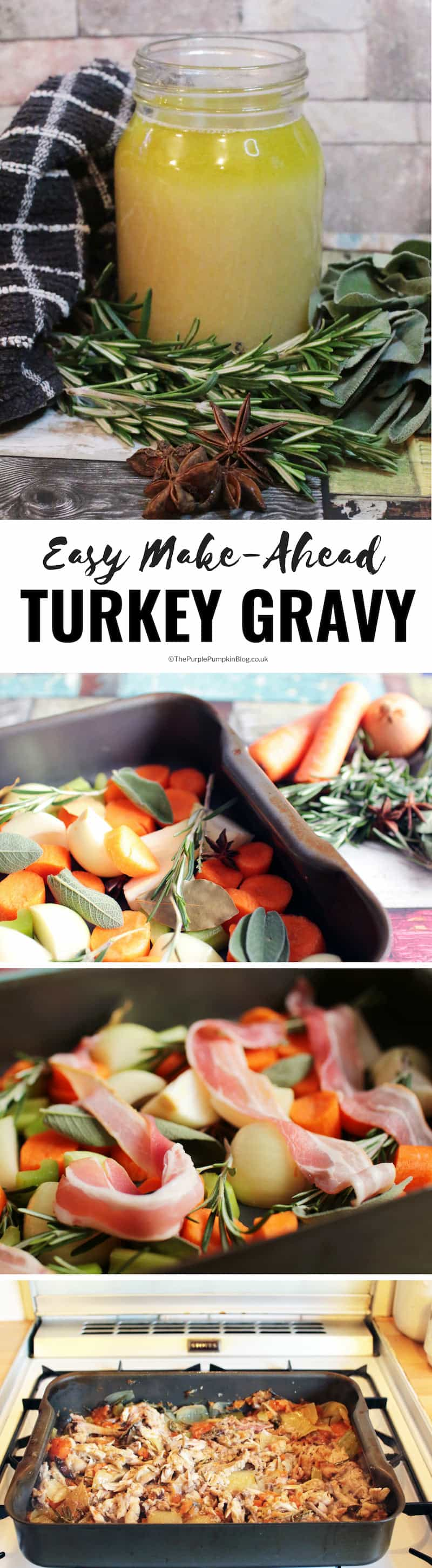 If you want to make real gravy for your festive roast - and not something out of a packet - this make-ahead turkey gravy is the recipe for you! It is easy to make, and can be prepared in advance too - win/win! Perfect for Christmas or Thanksgiving!
