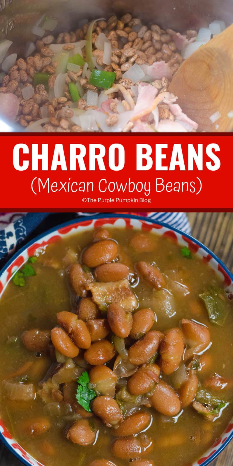 These flavourful beans can be cooked not only in a slow cooker/crock pot, but also in an instant pot, or old fashioned pressure cooker. And if you don't have any of those kitchen appliances, then it can be cooked on the stove top too (and even over a campfire). So that makes these authentic Mexican charro beans both deliciousand versatile! #CharroBeans #SlowCookerRecipes #ThePurplePumpkinBlog #MexicanRecipes