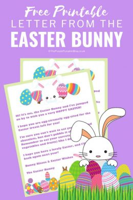 This Free Printable Letter from the Easter Bunny is perfect for placing inside Easter Baskets! #EasterBunny #EasterPrintables #ThePurplePumpkinBlog #FreePrintables
