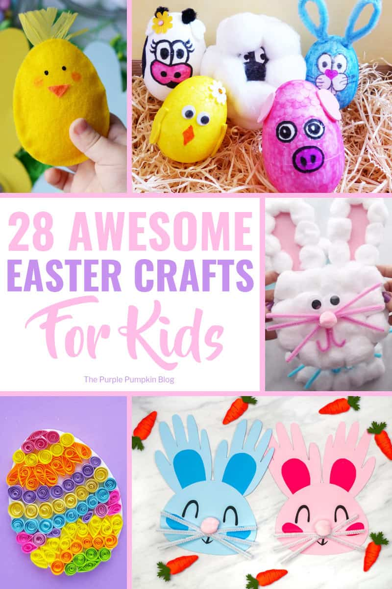 "An awesome collection of fun Easter Crafts for Kids that will certainly keep the kiddos occupied and stave off cries of ""I'm bored"" as they wait for the Easter Bunny! The Easter crafts include egg decorating, card making, painting, food crafts, free printables and more! #EasterCraftsForKids #EasterCrafts #KidsCrafts #ThePurplePumpkinBlog"
