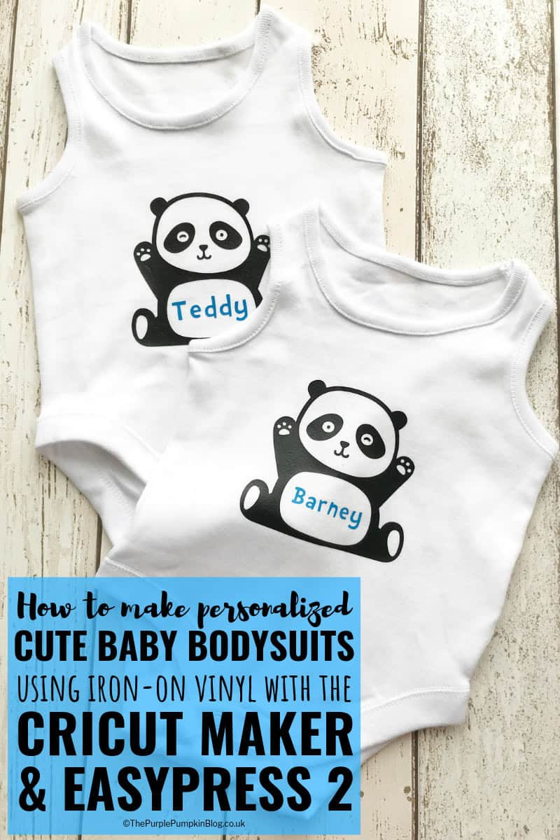 How to make cute baby bodysuits/sleepsuits/vests using Iron-On Vinyl with the Cricut Maker & EasyPress 2. A sweet project for baby showers, and for new moms. Includes free cut file.