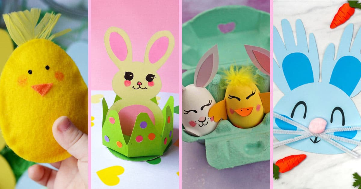 """An awesome collection of fun Easter Crafts for Kids that will certainly keep the kiddos occupied and stave off cries of """"I'm bored"""" as they wait for the Easter Bunny!"""
