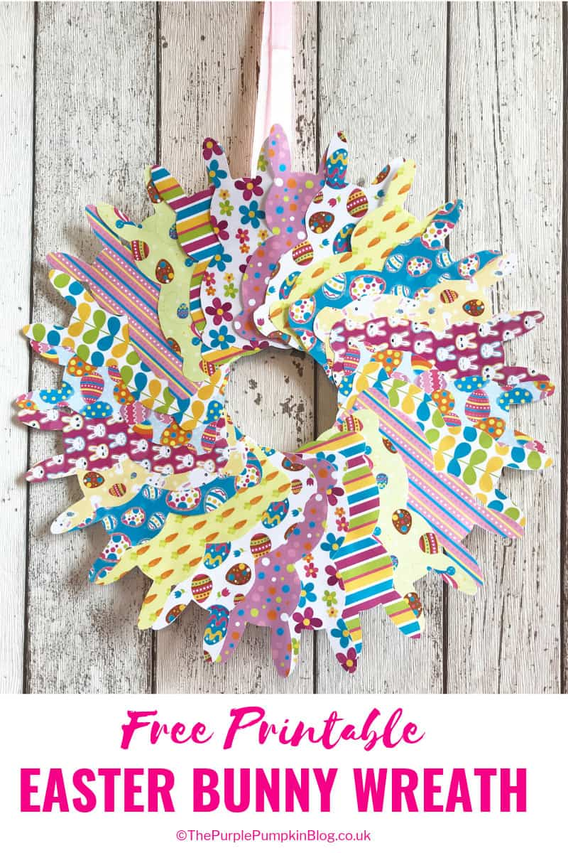 Make this quick and easy paper wreath with the free printable Easter bunny templates on this blog. There are 12 different designs to choose from! The paper bunnies could be used in other Easter crafts and activities too! #FreePrintables #PrintableEasterBunny #EasterPrintables #ThePurplePumpkinBlog