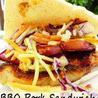 BBQ Pork Sandwich with Grilled Apples + Slaw