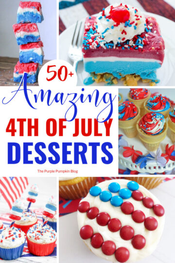 A collage of red, white, and blue patriotic desserts with cupcakes, and fudge