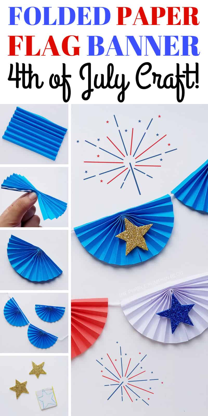 Folded Paper Flag Banner - 4th of July Craft
