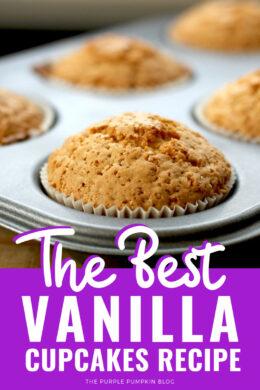 A tray of baked vanilla cupcakes