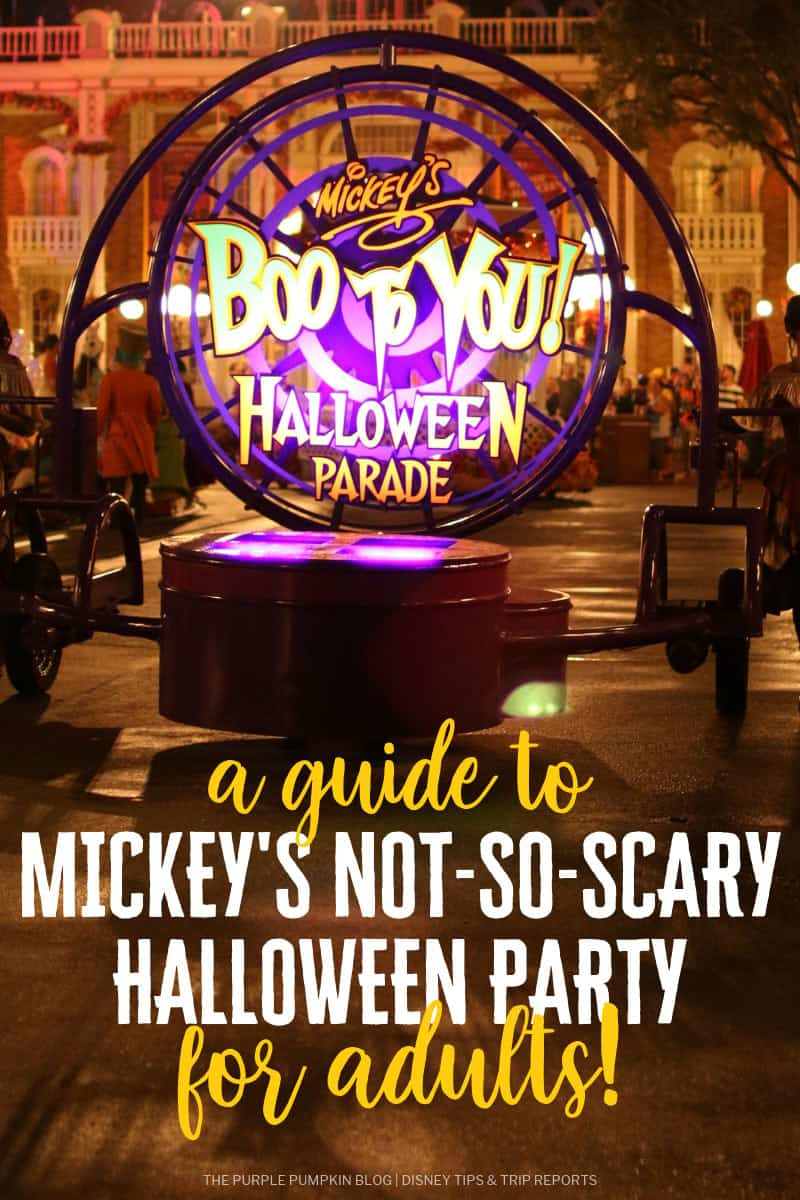 """A float from Mickey's Boo To You Halloween Parade, with """"a guide to Mickey's Not-So-Scary Halloween Party"""" text on top of the image."""