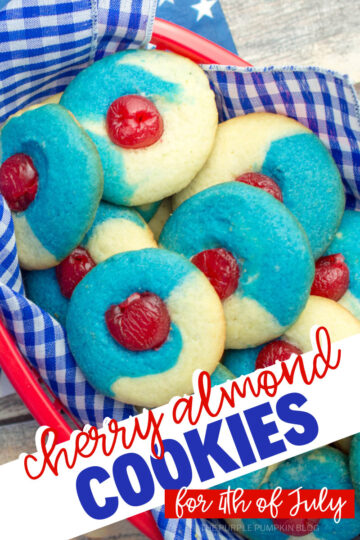 Basket of red, white, and blue cherry almond cookies for 4th of july